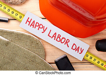 Tools around Labor Day card.