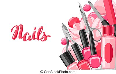 tools., bandeira, manicure