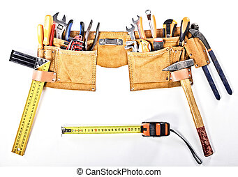 tools belt - classic tools belt isolated on white background