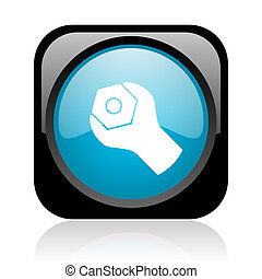 tools black and blue square web glossy icon