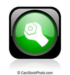 tools black and green square web glossy icon