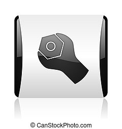tools black and white square web glossy icon