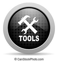 tools black circle web glossy icon