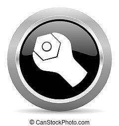tools black metallic chrome web circle glossy icon
