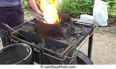 tools., blacksmith's, charbons, fait main, brûler, vivant,...