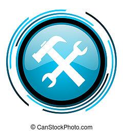 tools blue circle glossy icon