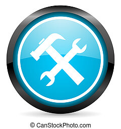 tools blue glossy circle icon on white background