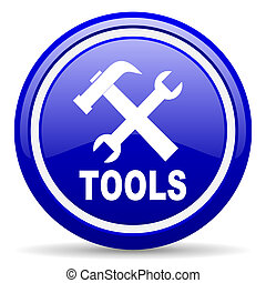 tools blue glossy icon on white background