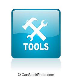 tools blue square web glossy icon