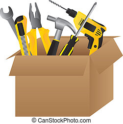 Tools - Cardboard tool box on white background, vector...
