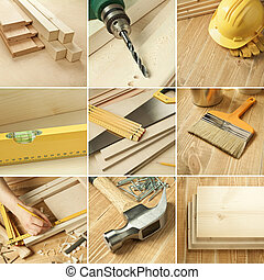 Tools collage - Carpentry tools, wood planks collage
