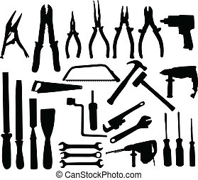 Tools collection - Tools silhouettes collection - vector