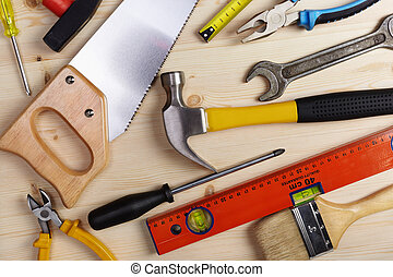 tools - construction background with many objects, selective...
