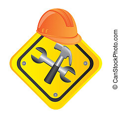 tools construction with helmet, road sign. vector...