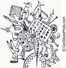 Tools doodle composition - graphic illustration