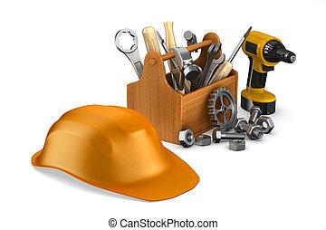 tools., drewniany, wizerunek, odizolowany, skrzynka na narzędzia, 3d