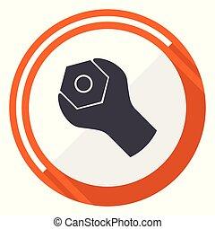 Tools flat design vector web icon. Round orange internet button isolated on white background.
