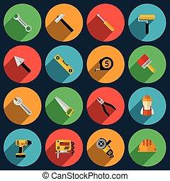 Tools flat icons set