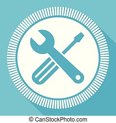 Tools flat vector icon, service square blue web button