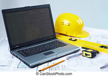 Tools for architectural design - Opened laptop with tools...