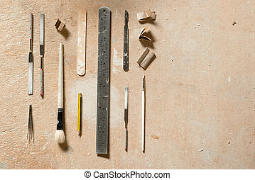 Tools for Arts and Crafts Flat Lay with Copy Space