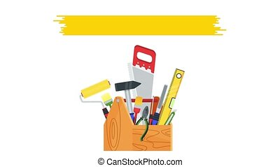 Tools for building construction, home repair in wooden toolbox. Hammer and pliers, saw and tape measure and brush. 2D animation isolated on background. Video footage. Flat cartoon motion graphics.
