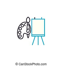 Tools for drawing vector thin line stroke icon. Tools for drawing outline illustration, linear sign, symbol concept.