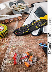 Tools for electrical installation, close-up