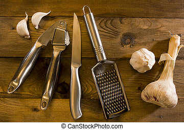 Tools for grinding garlic
