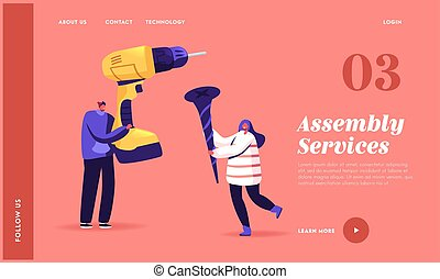 Tools for Home Repair, Building and Construction Works Landing Page Template. Tiny Characters Hold Huge Drill and Screw