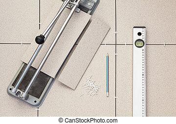 Tools for installing the floor of ceramic granite