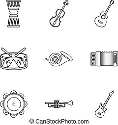 Tools for music icons set, outline style