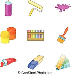 Tools for painting icons set, cartoon style