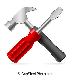 Tools for repair - Screwdriver and hammer. Illustration on ...