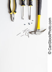 Tools for repairing top view on white background