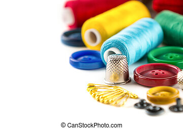 Tools for sewing and handmade: measurement, button, thimble,...
