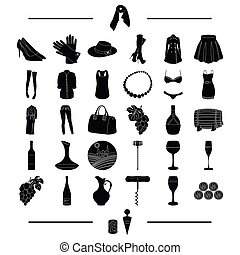 tools, fruits, textiles and other web icon in black style. accessories, clothing, knitwear icons in set collection.