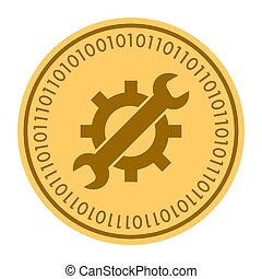 Tools golden digital coin vector icon. Gold yellow coin with wrench and gear symbol. cryptocurrency icon isolated on white background. Flat style. Eps 10