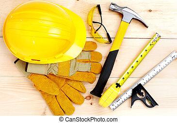 tools., hammare, och, linjal