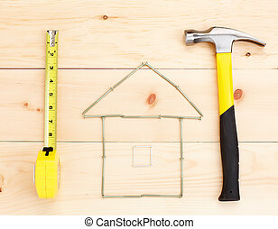 Tools.  Hammer and ruler