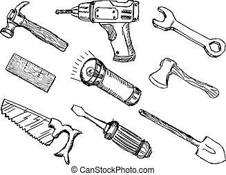 hand drawn, doodle, sketch illustrations of tools