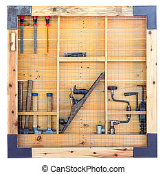 Tool shelf against a wall isolate on white