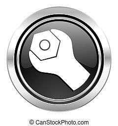 tools icon, black chrome button, service sign