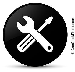 Tools icon black round button