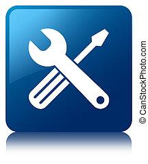 Tools icon blue square button