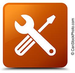 Tools icon brown square button