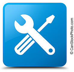 Tools icon cyan blue square button