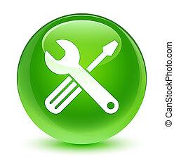 Tools icon glassy green round button