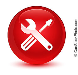 Tools icon glassy red round button