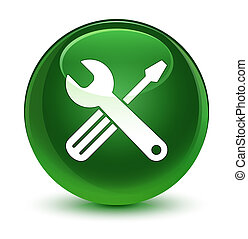 Tools icon glassy soft green round button